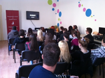 Projection of short film Encounter of the Belgrade Centre for Human Rights in Šabac 2.jpg