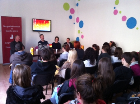 Projection of short film Encounter of the Belgrade Centre for Human Rights in Šabac 4.jpg
